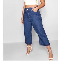 Jeans | Zendaya Collection Scallop Edge Denim Culottes | Poshmark Denim Culottes, Wide Leg Denim, Scalloped Edge, Zendaya, Mom Jeans, Polka Dots, Brand New, Legs, Pants