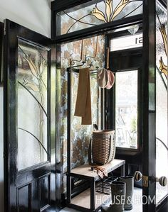 Stained Glass Vestibule | Les Ensembliers Interiors | House & Home | Designer: Richard Ouellette | Photographer: André Rider | #fronthall #entryway #vestibule #wallpaper |