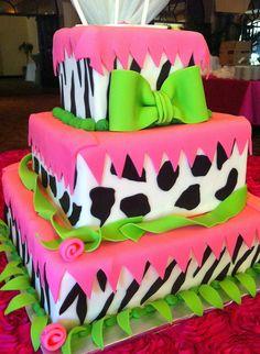 pink green zebra cake