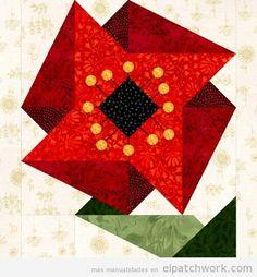 Patrones gratis para descargar de flores de patchwork 4