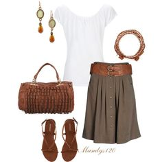 LOLO Moda: Womens summer fashion. Love skirt and shoes but not the outfit. Not too much brown.