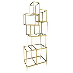 Material: Iron Frame w/Glass Shelves Finish Options: Antiqued Gold (As Shown), Antiqued Bronze, Antiqued Silver  *Priced as shown. Pricing will vary based on finish/fabric selected.