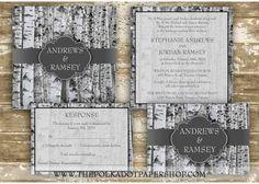 Winter Birch Tree Wedding Invitation Suite by InvitationsbyJenna, $110.00