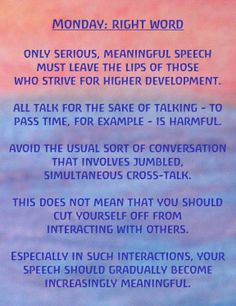 Monday: Right Word Exercises for the Days of the Week by Rudolf Steiner | Well Wishers Group