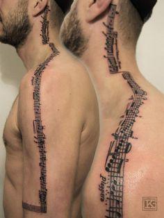 Music tattoo neck shoulder arm