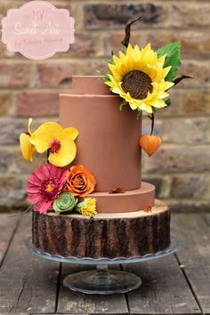 Wafer Paper Autumn Cake by My Sweet Art - http://cakesdecor.com/cakes/216685-wafer-paper-autumn-cake