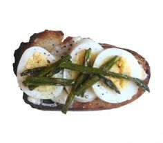 Roasted Asparagus and Egg Toast: Think of this as springtime on a slice of bread. Stir together lemon juice and mayo for a lazy spin on aioli and give asparagus a turn under the broiler to soften its skin and concentrate its flavor. Then, add sunny slices of hard-boiled egg for creaminess and color.