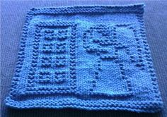 Angels have the phone box knit dish cloth—unfortunately no chart. Lots of other DW inspired knits on this site!