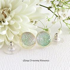 Sheer Glass Stud Earrings, Clear Sparkle Glass Studs, Fused Glass... ($20) ❤ liked on Polyvore featuring jewelry, earrings, stud earrings, earring jewelry, clear crystal earrings, clear earrings and glass earrings