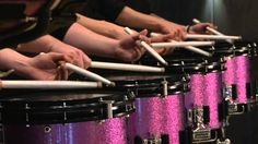 I want our drumline to have these drums! Pink and glittery! Not to mention these video is pretty awesome Drum Solo, Guitar Solo, Girl Drummer, Best Drums, Line Video, Drum Major, Drumline, Color Guard, Music Education
