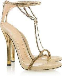 GUCCI Chaintrimmed Suede Sandals