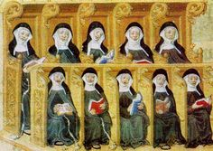 praying/singing nuns(Clarissen),ca 1400 (Londen, British Library)