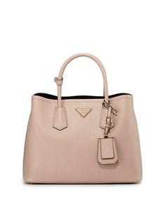 Prada Saffiano Cuir Small Double Bag, Blush