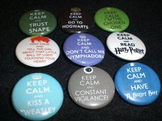 """Harry Potter Inspired Keep Calm and Potter On 1"""" Pin back Button Mix."""