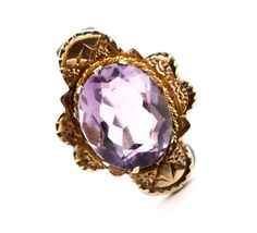 Antique Victorian 14K Yellow Gold & Amethyst Brooch - 1800s Rose De France Fine Jewelry Etruscan Revival Pin / 2 Carat Icy Purple Amethyst by Maejean Vintage, $125.00