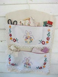 Handy wall pockets made from old dresser scarves