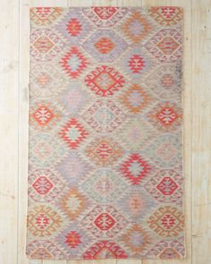 Vintage Diamond Flat-Weave Wool Rug - Garnet Hill