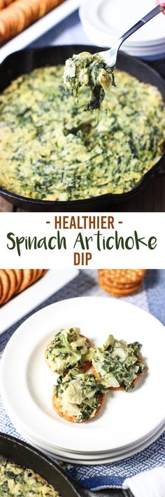 Healthier spinach artichoke dip is easy, creamy, and sneakily lightened up thanks to a special ingredient. This warm dip is a perfect appetizer for game day! mysequinedlife.com