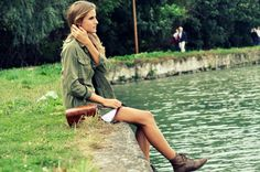 Military khaki green jacket, white lace dress and brown booties. Perfect beginning of fall outfit.