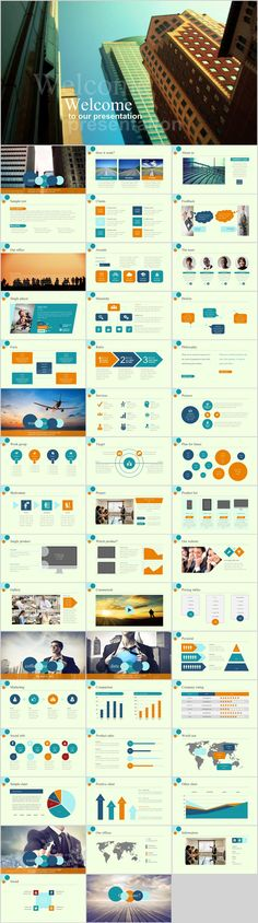 Business infographic : 48 company report charts PowerPoint template on Behance Ppt Template Design, Simple Powerpoint Templates, Powerpoint Charts, Professional Powerpoint Templates, Keynote Template, Microsoft Powerpoint, Business Presentation, Presentation Design, Presentation Slides
