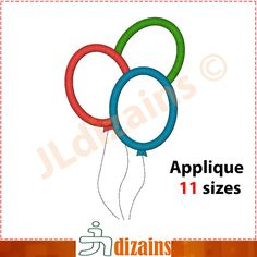Party Balloons Applique Design  Machine Embroidery