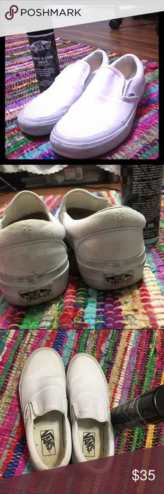 Slip On Vans & Stain Remover White women's vans size 6, can fit size 6.5. Worn a handful of times - in excellent condition, will wash before sending. Vans white stain remover included! Vans Shoes Sneakers