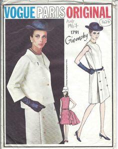 1967 Vintage VOGUE Sewing Pattern B38 DRESS & JACKET 1427 By