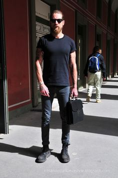 Workwear Fashion, Punk Fashion, Fashion Photo, Style Casual, My Style, Style Men, Justin O'shea, Beard Look, Badass Style
