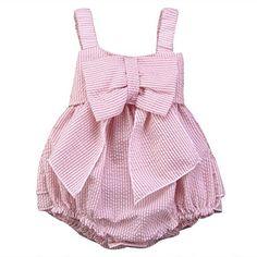 Baby Girls Striped Seersucker Bubble Straps Ruffle Layers Bowknot Romper (70(0-6M))