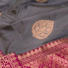 Handwoven Banarasi Kadhwa Silk Saree With Floral Butis 10020975