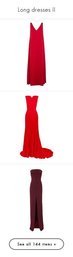 """Long dresses II"" by boiteasecrets ❤ liked on Polyvore featuring dresses, gowns, long dresses, valentino, red, red dress, red gown, red wool dress, red evening dresses and long draped dress"