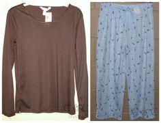 Charter Club 2-Piece NEW Pajama Lounge SET Top Capri Pants Blue Brown Bird M