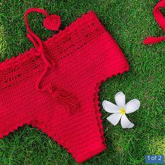 High waisted Bottom Bikini Crochet Handmade Swimwear by LFORYOU