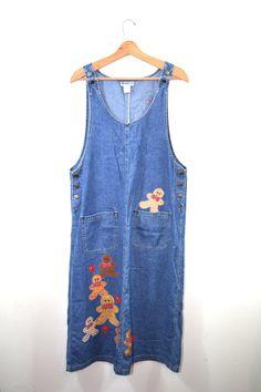 Vintage Denim Dress Denim Jumper Dress by founditinatlanta on Etsy