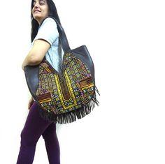 Banjara Leather Crossbody HANDBAG with Tribal by Roopantaran, $155.00