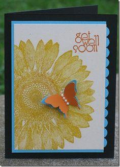 Stamp Sets: Delightful Dozen, Sunflower  Ink: Daffodil Delight, Pumpkin Pie  From Michelle Montague, Stamp Magic