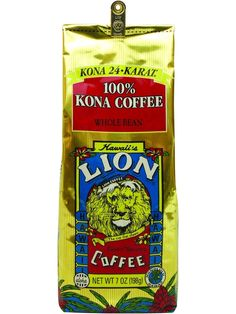 LION 24K Kona Coffee 7oz....wonderful tasting coffee 100% Kona Coffee beans from Hawaii's Kona Coast. Our Hawaiian Kona Coffee is selected from the best of the Kona Coffee harvests. These big, flavorful Kona Coffee beans are expertly roasted to produce a consistent and truly gourmet coffee when brewed. It will become a favorite. That's a promise!  Roast Type: Light Medium Roast  Blend Type: 100% Pure Kona Coffee  Now Only $17.95