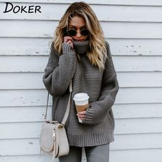 Autumn Long Sleeve Sweater And Pullover Women Casual Looseturtleneck  Knitwear Warm Sweater Winter Cable Knitted Plus 0aa502f73