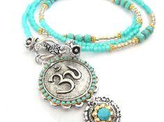Long beaded turquoise OM necklace  yoga jewelry  by OOAKjewelz, €89.00