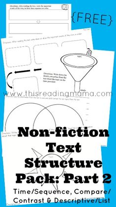 FREE Non-Fiction Text Structure Pack for Time/Sequence, Compare/Contrast, and Descriptive List ~ Graphic Organizers for Teaching Comprehension | This Reading Mama