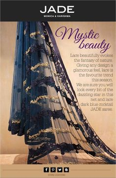 This gorgeous lace-net blue cocktail saree is  a sure winner, isn't it?