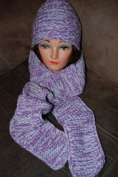 Purple and White Hat and Scarf Matching Set by KarmaKittenStudios, $17.00