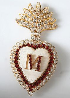 French Antique Gilt Brass Ex-voto Sacred Heart with Red and Clear Cut Glass Stones Love Wallpaper Backgrounds, M Wallpaper, Alphabet Wallpaper, Flower Phone Wallpaper, Love Heart Images, Love You Images, Photos Islamiques, M Letter Design, Stylish Alphabets