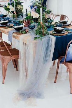 Moody Blues Winter Elopement Inspiration Blue and Copper Wedding Table Decor Trendy Wedding, Elegant Wedding, Wedding Ideas, Wedding Details, Diy Wedding, Wedding Church, Paris Wedding, Budget Wedding, Wedding Trends