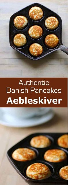 Aebleskiver are traditional Danish pancakes that are cooked in a special stovetop pan with half-spherical molds. Eggs, buttermilk, flour, and sugar form the base of this recipe that has an interesting Danish history and traditional use.