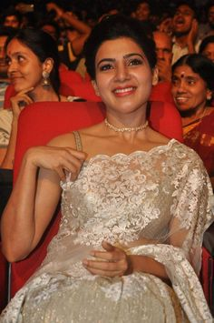 Samantha Images In White Saree At 24 Movie Audio Launch