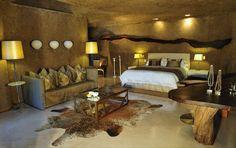 Sabi Sabi Earth Lodge offers you luxury safari lodge accommodation in the Sabi Sands Game Reserve near Kruger National Park. Safari Bedroom, Lodge Bedroom, Game Lodge, Private Games, Lodge Decor, Game Reserve, Restaurant, African Safari, African Animals