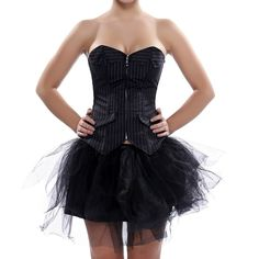 Grebrafan Black Stripe Lace up Boned Corset & Mini Skirt Office Dress Up US(4-6) S. corset has plastic rods and zipper front. The back carries a cross with black satin ribbons. We recommend hand washing for all of our lingerie in warm water, using non-bio washing liquid or gentle soap flakes. This fashion corset is widely used in wedding, christmas party, clubbing, cosplay, stage performance,intimate or naughty occasions. Skirt or any other type of slim-fitting pants will be great with a...