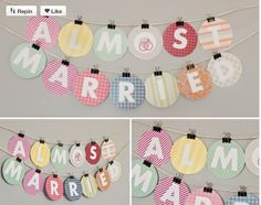 won't read 'almost married'  but will ready something like 'Kate's hen party' bunting