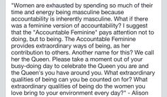 Alison Armstrong, feminine, accountability, patriarchy, connection, being, love, The Queen, archetype, quotes, inspiration